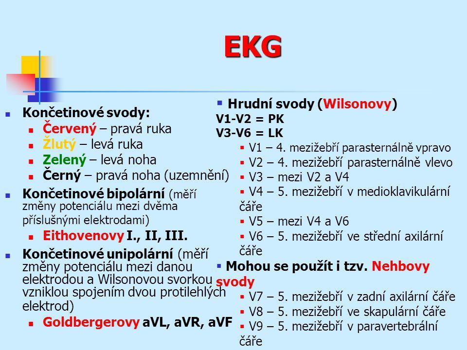 EKG Končetinové svody: Červený – pravá ruka Žlutý – levá ruka Zelený – levá noha Černý – pravá noha (uzemnění) Končetinové bipolární (měří změny potenciálu mezi dvěma příslušnými elektrodami) Eithovenovy I., II, III.
