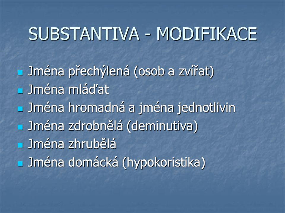 SUBSTANTIVA - MODIFIKACE Jména přechýlená (osob a zvířat) Jména přechýlená (osob a zvířat) Jména mláďat Jména mláďat Jména hromadná a jména jednotlivi