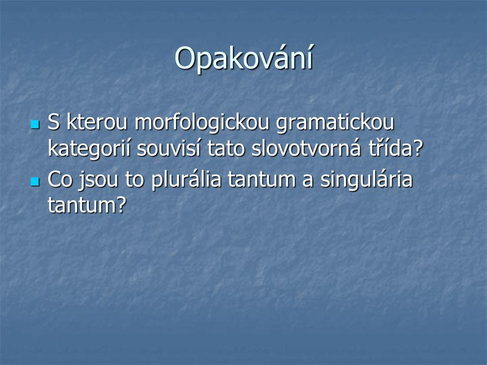 Opakování S kterou morfologickou gramatickou kategorií souvisí tato slovotvorná třída? S kterou morfologickou gramatickou kategorií souvisí tato slovo