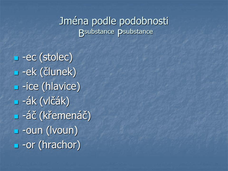 Jména podle význačného rysu (části) B substance P substance -áč (okáč, nosáč) -áč (okáč, nosáč) -ák (ušák, zubák) -ák (ušák, zubák) -oun (hlavoun, mečoun) -oun (hlavoun, mečoun) -ovec (bičíkovec, pásovec) -ovec (bičíkovec, pásovec)......