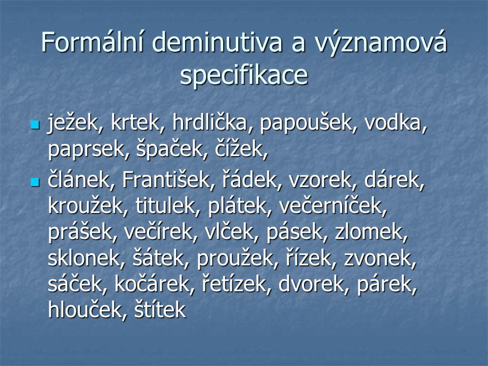 Formální deminutiva a významová specifikace ježek, krtek, hrdlička, papoušek, vodka, paprsek, špaček, čížek, ježek, krtek, hrdlička, papoušek, vodka,