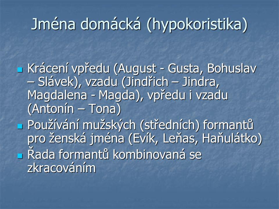 Jména domácká (hypokoristika) Krácení vpředu (August - Gusta, Bohuslav – Slávek), vzadu (Jindřich – Jindra, Magdalena - Magda), vpředu i vzadu (Antoní