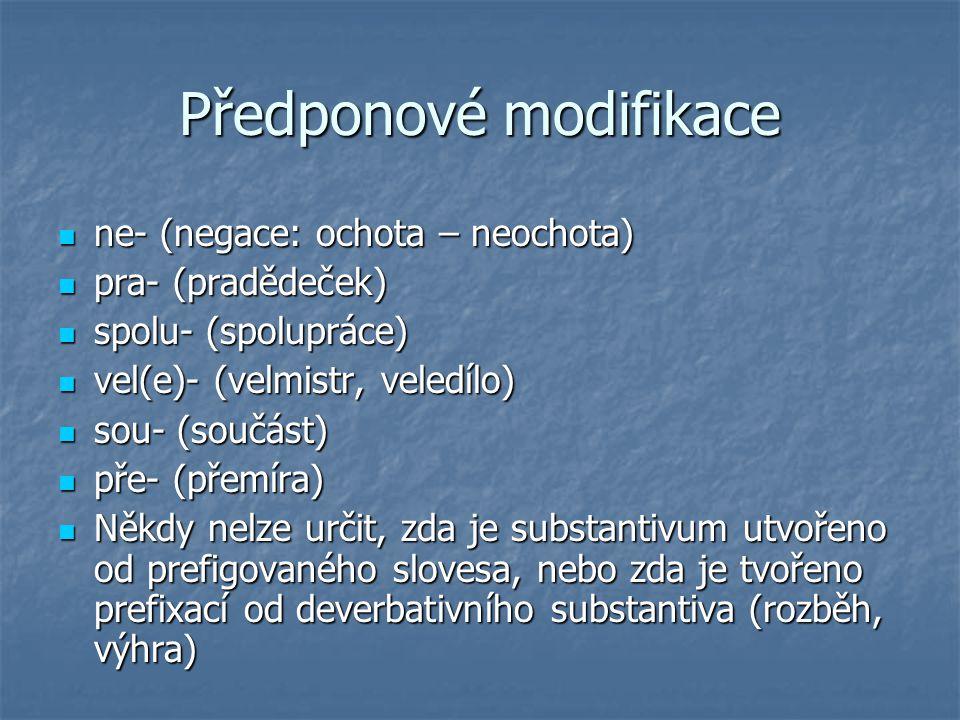 Předponové modifikace ne- (negace: ochota – neochota) ne- (negace: ochota – neochota) pra- (pradědeček) pra- (pradědeček) spolu- (spolupráce) spolu- (