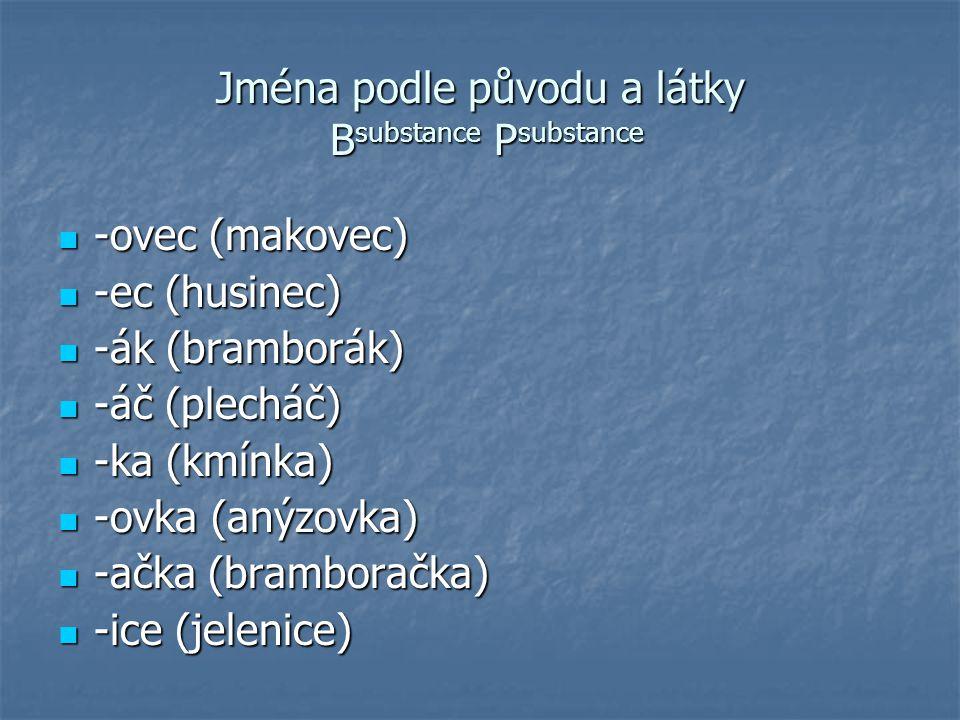 Jména podle předmětu, pro nějž jsou určena B substance P substance -ák (uhlák) -ák (uhlák) -ník (chlebník) -ník (chlebník) -ka (tělka) -ka (tělka) -enka (cukřenka) -enka (cukřenka) -ička (solnička) -ička (solnička) -nice (nábojnice) -nice (nábojnice) -avice (rukavice) -avice (rukavice)