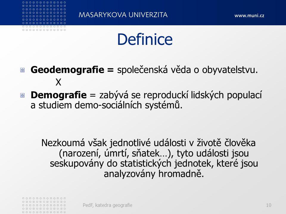 Geografie obyvatelstva ≠ demografie? GO = jedna ze základních disciplín socioekonomické geografie, zabývá se: vývojem prostorových struktur a jejich p