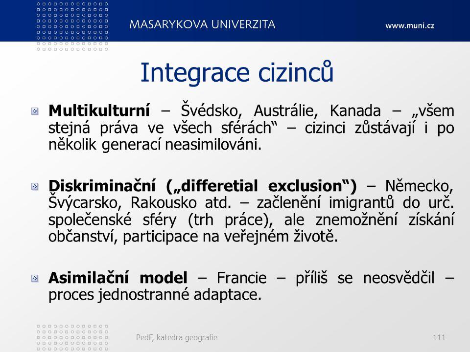 PedF, katedra geografie110 Evropa Rozdělení Evropy na regiony s výrazně odlišným migračním chováním: Země bývalé Jugoslávie, kromě Slovinska. Západní