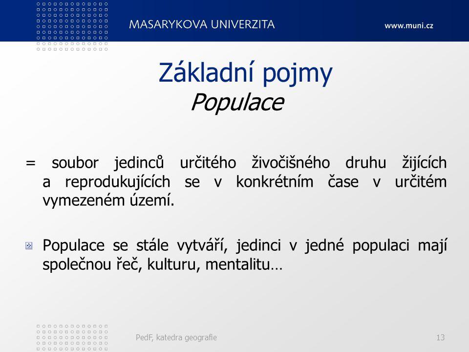 PedF, katedra geografie12 Předmět demografie Soubor poznávající zákonitosti vývoje demograf. systémů. Sledování podmínek a důsledků celého procesu. Dě
