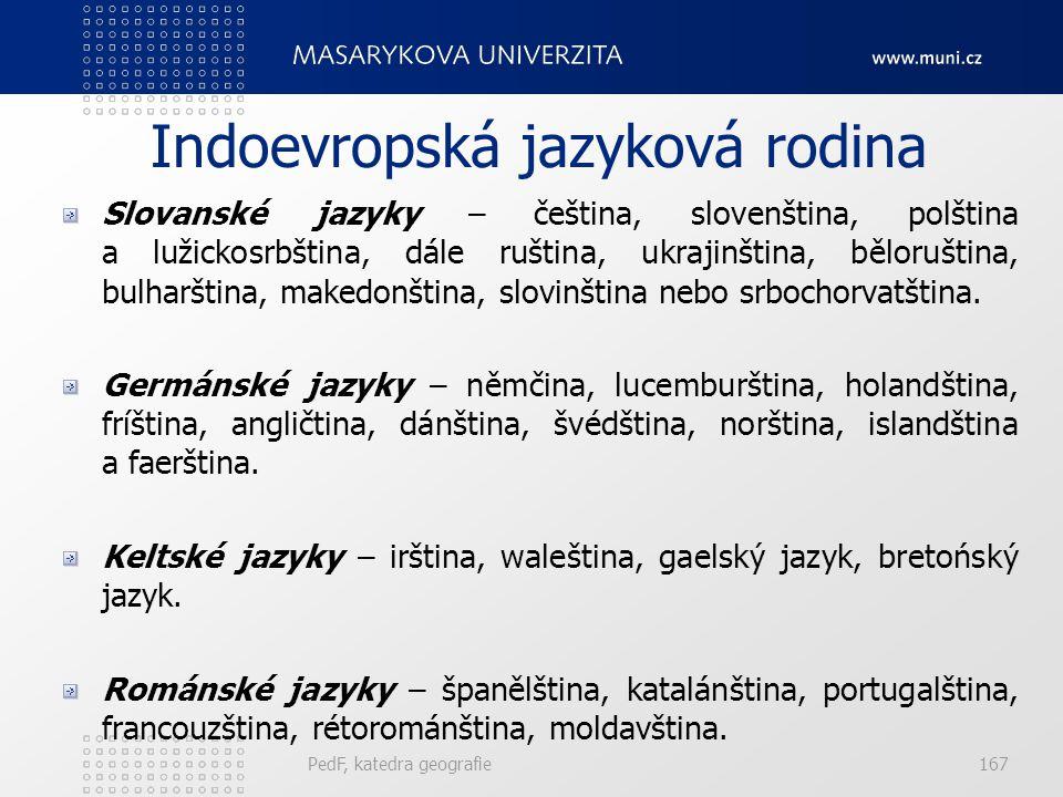 PedF, katedra geografie166 Jazykové rodiny K dalším jazykovým rodinám náležejí: uralská jazyková rodina, kavkazská jazyková rodina, drávidská jazyková