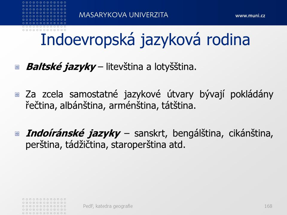 PedF, katedra geografie167 Indoevropská jazyková rodina Slovanské jazyky – čeština, slovenština, polština a lužickosrbština, dále ruština, ukrajinštin