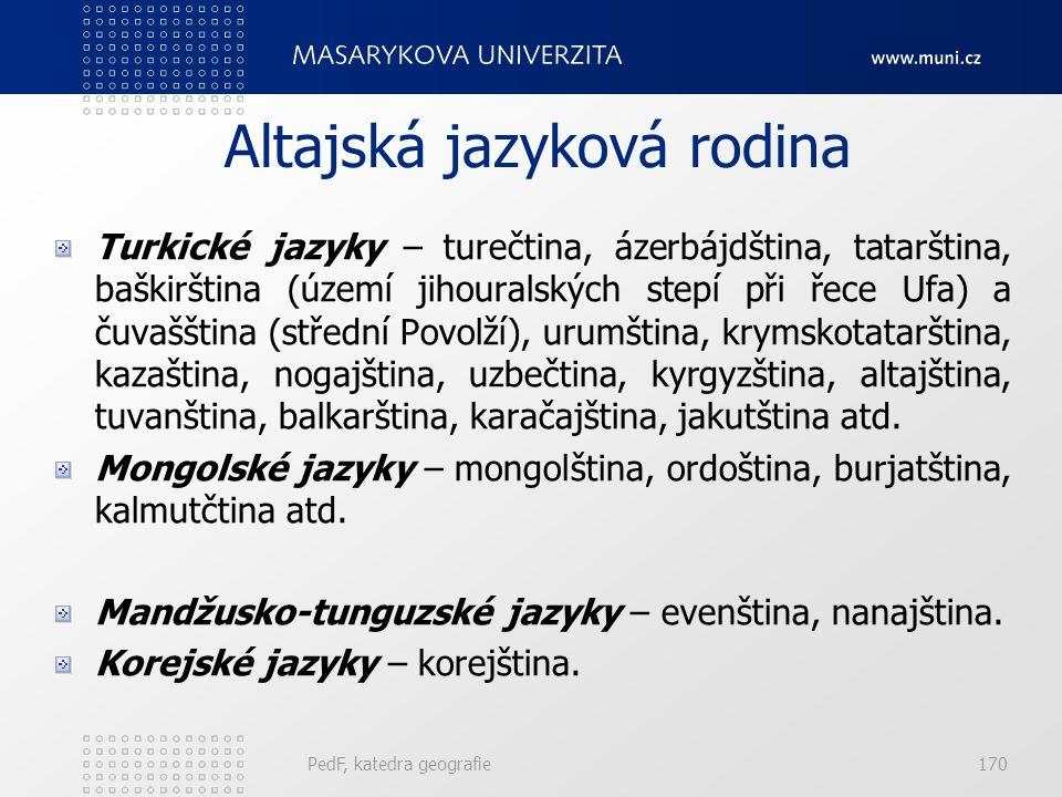 PedF, katedra geografie169 Uralská jazyková rodina Finsko-permské jazyky – permské, komijské, udmurjské. Finsko-ugrické jazyky – finština, maďarština,