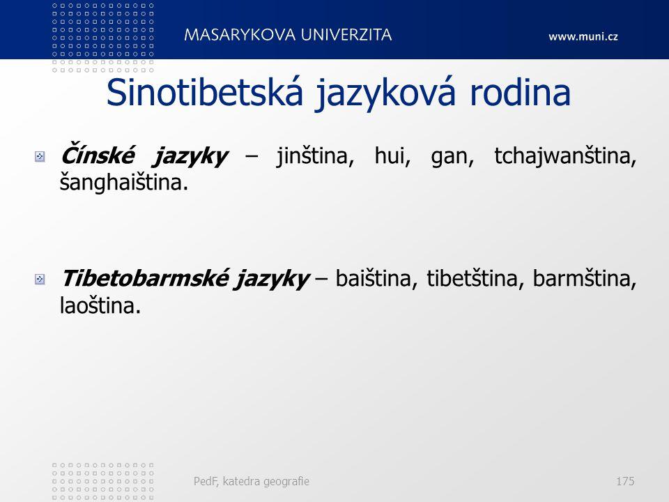 PedF, katedra geografie174 Paleoasijská jazyková rodina Čukotsko-kamčatské jazyky – čukotština, korjačtina, itelmenština. Jukagirské jazyky – severní