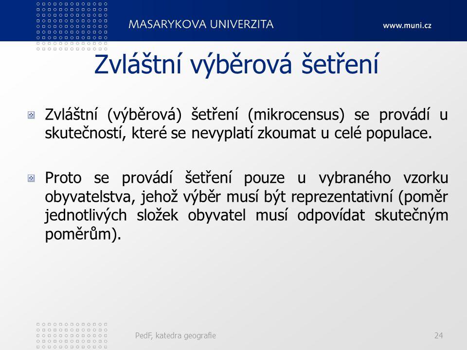 PedF, katedra geografie23 Běžná evidence migrací V České republice je evidence vnitřní migrace založena na povinném přihlašování k trvalému pobytu. To