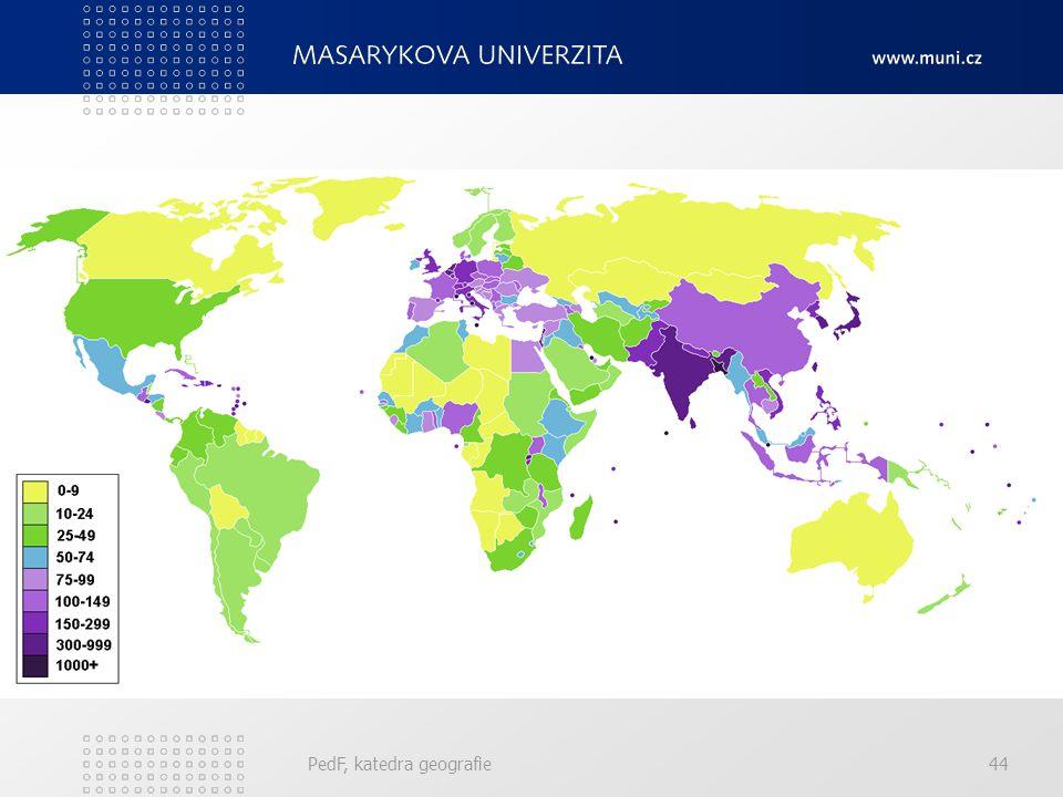 Hustota zalidnění ČR má průměrnou hustotu zalidnění 132,5 obyvatel / km². Svět jako celek dosahuje hodnoty 13 obyvatel / km². Nejvíce ministáty (Monak