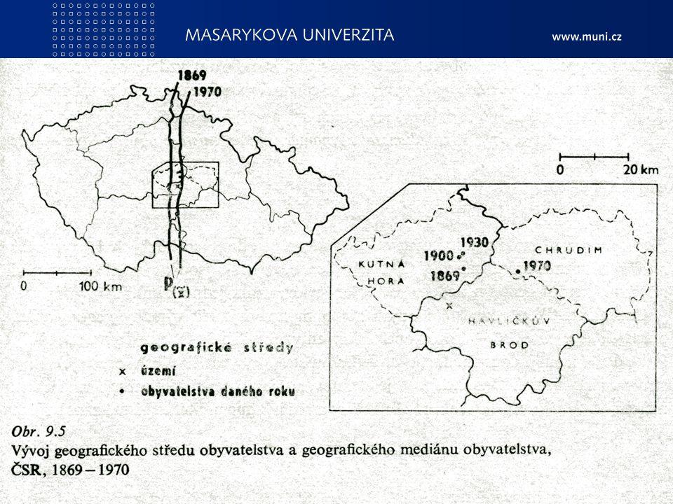 PedF, katedra geografie49 Další ukazatele Geografický medián - rozděluje plochu určitého území tak, aby v obou vymezených částech byl stejný počet oby