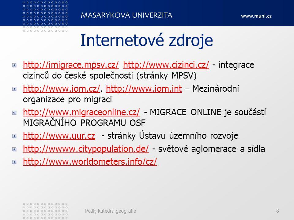 Internetové zdroje http://imigrace.mpsv.cz/http://imigrace.mpsv.cz/ http://www.cizinci.cz/ - integrace cizinců do české společnosti (stránky MPSV)http://www.cizinci.cz/ http://www.iom.cz/http://www.iom.cz/, http://www.iom.int – Mezinárodní organizace pro migracihttp://www.iom.int http://www.migraceonline.cz/http://www.migraceonline.cz/ - MIGRACE ONLINE je součástí MIGRAČNÍHO PROGRAMU OSF http://www.uur.czhttp://www.uur.cz - stránky Ústavu územního rozvoje http://whttp://wwww.citypopulation.de/ - světové aglomerace a sídlaww.citypopulation.de/ http://www.worldometers.info/cz/ PedF, katedra geografie8