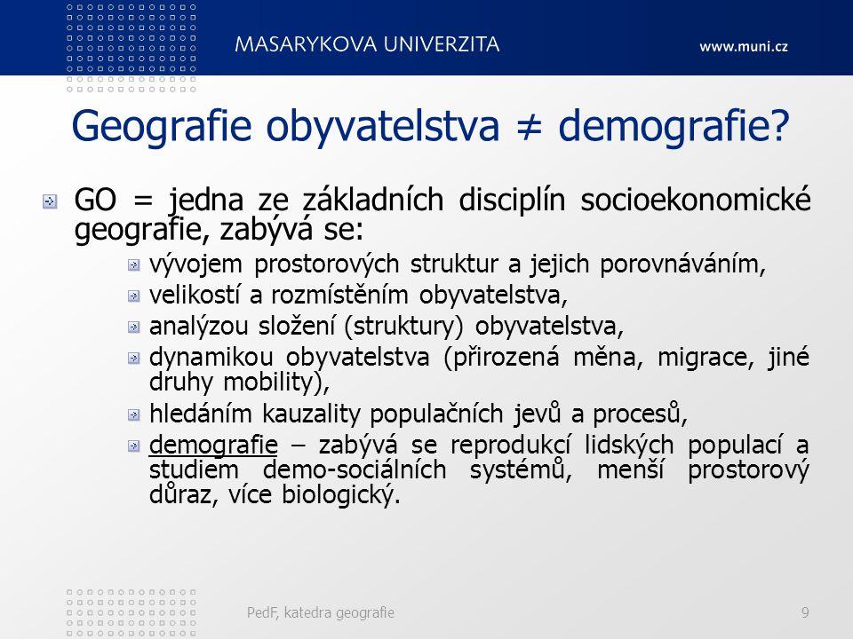 PedF, katedra geografie69 Specifická úmrtnost Nejčastěji se tento ukazatel používá pro určité věkové skupiny, nebo pro strukturu obyvatelstva podle pohlaví.