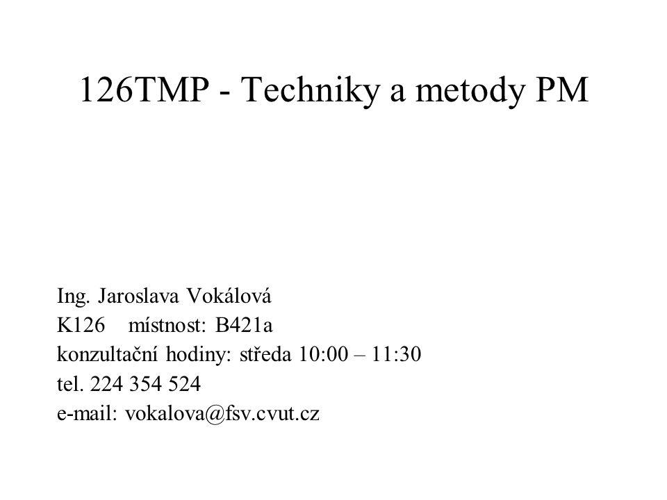 126TMP - Techniky a metody PM Ing. Jaroslava Vokálová K126 místnost: B421a konzultační hodiny: středa 10:00 – 11:30 tel. 224 354 524 e-mail: vokalova@
