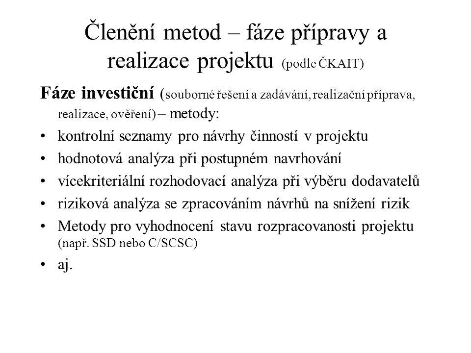 Členění metod – fáze přípravy a realizace projektu (podle ČKAIT) Fáze investiční ( souborné řešení a zadávání, realizační příprava, realizace, ověření