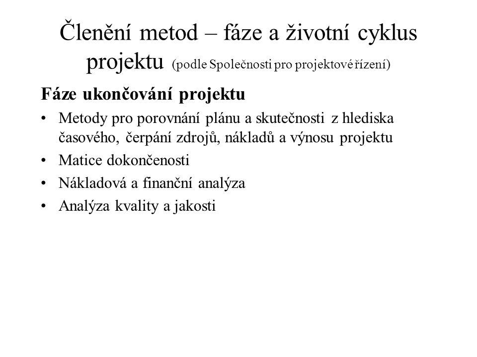 Členění metod – fáze a životní cyklus projektu (podle Společnosti pro projektové řízení) Fáze ukončování projektu Metody pro porovnání plánu a skutečn