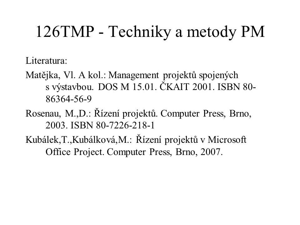126TMP - Techniky a metody PM Literatura: Matějka, Vl. A kol.: Management projektů spojených s výstavbou. DOS M 15.01. ČKAIT 2001. ISBN 80- 86364-56-9