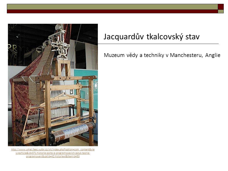 Jacquardův tkalcovský stav Muzeum vědy a techniky v Manchesteru, Anglie http://www.umel.feec.vutbr.cz/vit/index.php?option=com_content&vie w=article&i