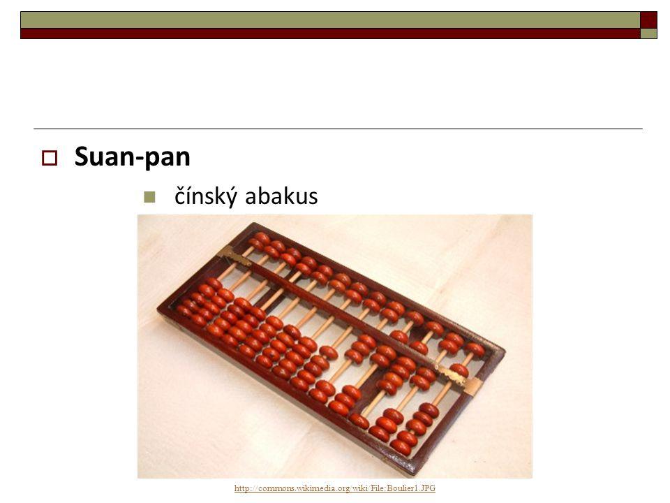  Soroban japonský abakus ukázka:  http://commons.wikimedia.org/wiki/File:Soroban.JPG http://commons.wikimedia.org/wiki/File:Soroban.JPG http://commons.wikimedia.org/wiki/File:Sorobanb ozu_20081029172605.gif