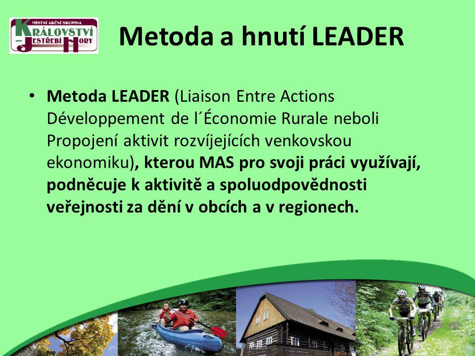 Metoda a hnutí LEADER Metoda LEADER (Liaison Entre Actions Développement de l´Économie Rurale neboli Propojení aktivit rozvíjejících venkovskou ekonomiku), kterou MAS pro svoji práci využívají, podněcuje k aktivitě a spoluodpovědnosti veřejnosti za dění v obcích a v regionech.