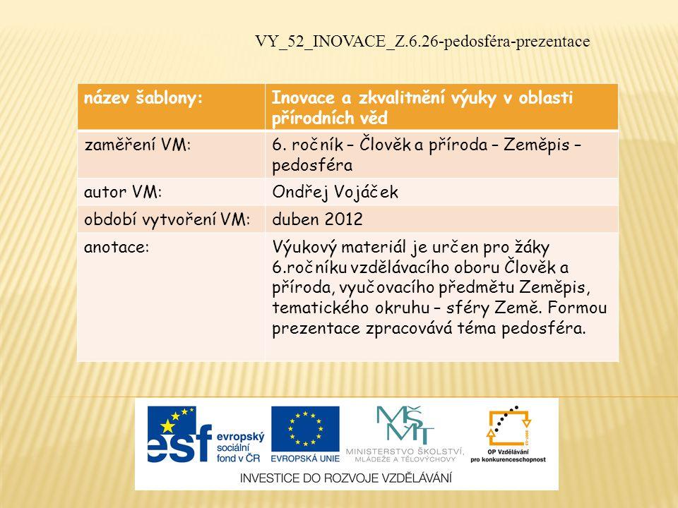 název šablony:Inovace a zkvalitnění výuky v oblasti přírodních věd zaměření VM:6.
