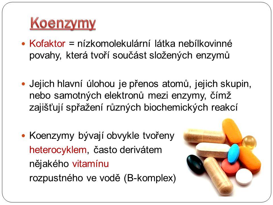 NAD + = Nikotinamidadenindinukleotid - patří mezi nejvýznamnější koenzymy oxidoreduktáz - v redoxních dějích se podílí na přenosu H 2 nebo elektronů - jeho funkce spočívá v reverzibilní vazbě vodíku, který je buď odebrán nebo přidán substrátu - oxidovaná forma: NAD + - redukovaná forma: NADH+H +