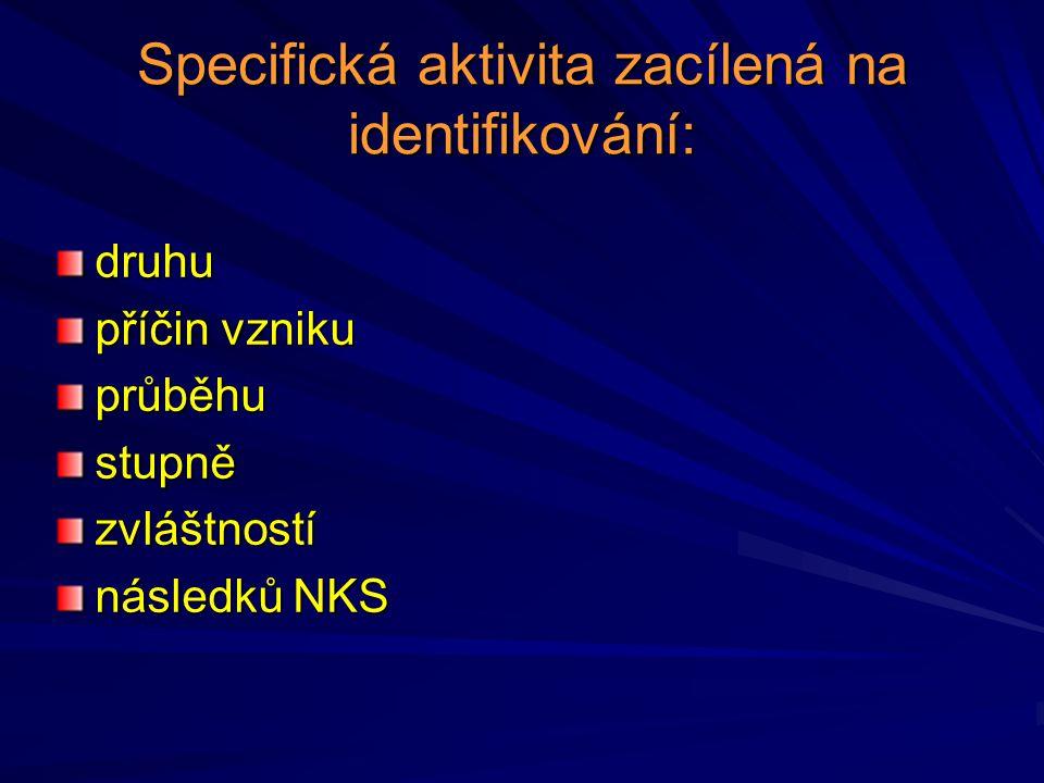 Specifická aktivita zacílená na identifikování: druhu příčin vzniku průběhustupnězvláštností následků NKS