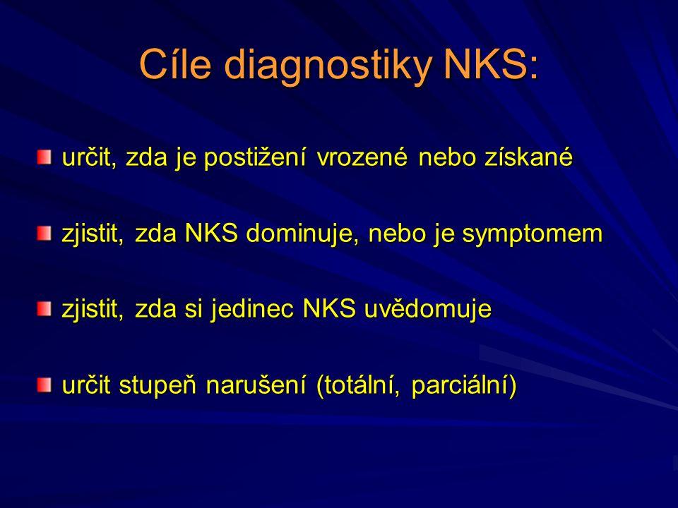 Cíle diagnostiky NKS: určit, zda je postižení vrozené nebo získané zjistit, zda NKS dominuje, nebo je symptomem zjistit, zda si jedinec NKS uvědomuje