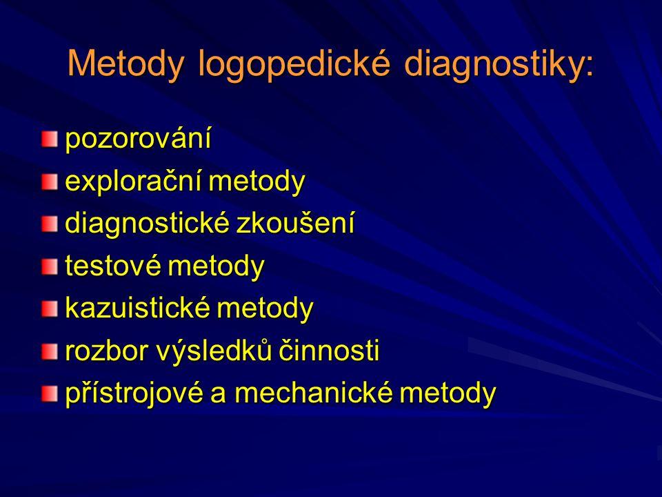 Metody logopedické diagnostiky: pozorování explorační metody diagnostické zkoušení testové metody kazuistické metody rozbor výsledků činnosti přístroj