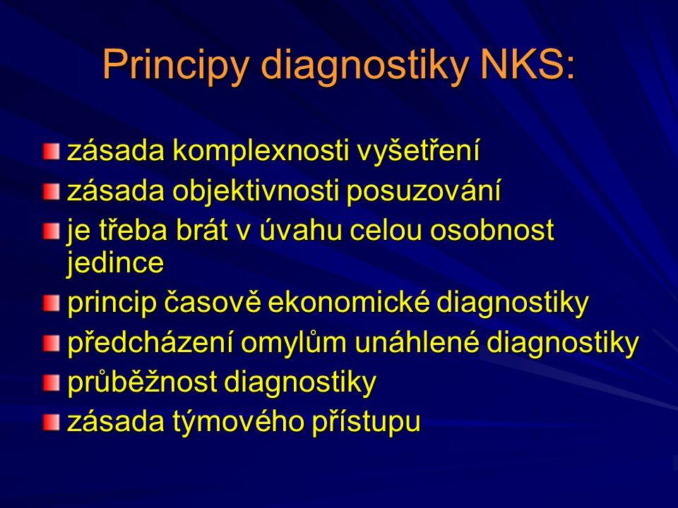 Principy diagnostiky NKS: zásada komplexnosti vyšetření zásada objektivnosti posuzování je třeba brát v úvahu celou osobnost jedince princip časově ek
