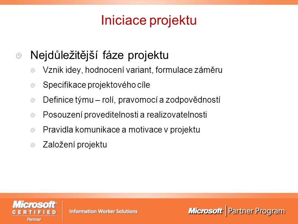 Iniciace projektu Nejdůležitější fáze projektu Vznik idey, hodnocení variant, formulace záměru Specifikace projektového cíle Definice týmu – rolí, pra