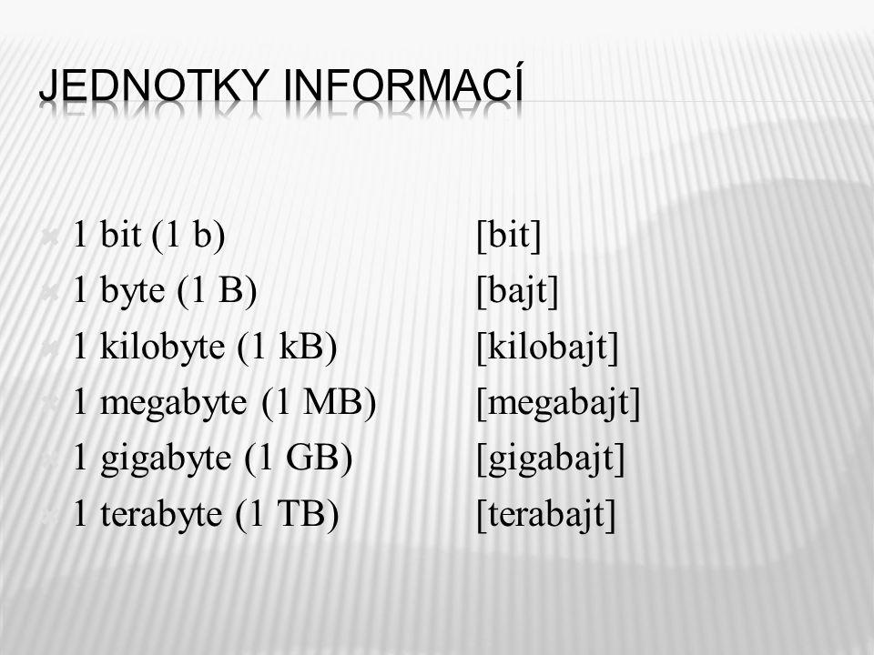  1 bit (1 b)[bit]  1 byte (1 B)[bajt]  1 kilobyte (1 kB) [kilobajt]  1 megabyte (1 MB)[megabajt]  1 gigabyte (1 GB)[gigabajt]  1 terabyte (1 TB)