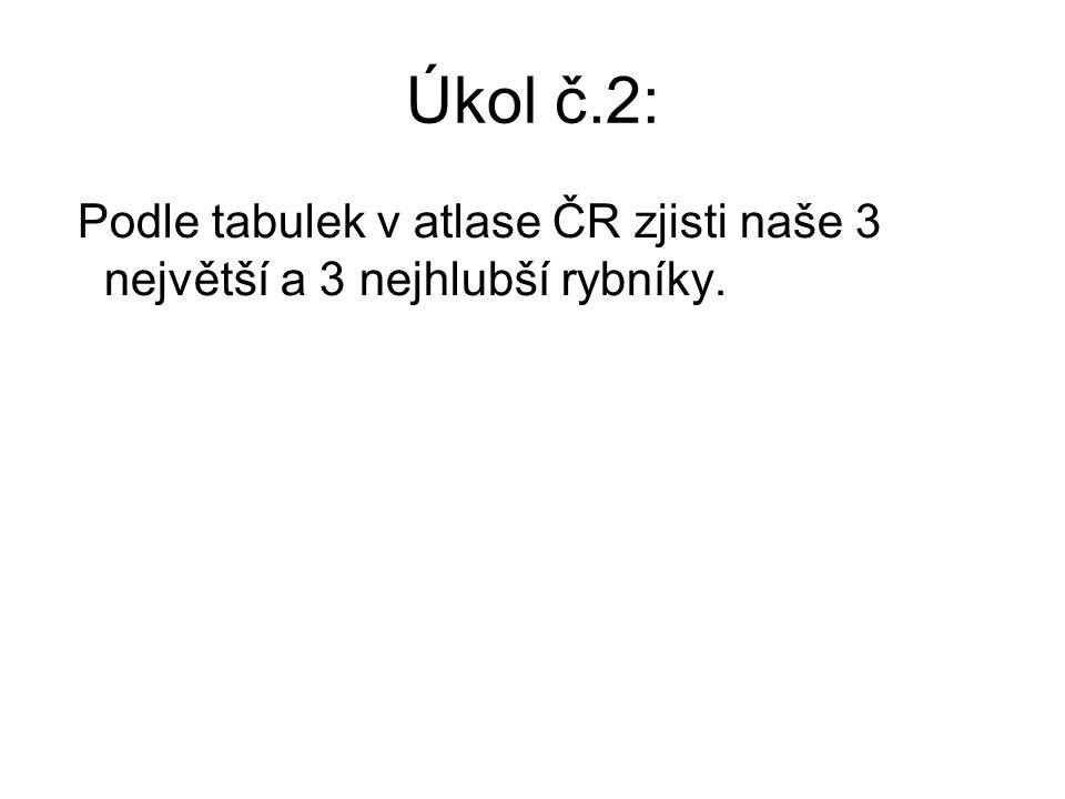 Úkol č.2: Podle tabulek v atlase ČR zjisti naše 3 největší a 3 nejhlubší rybníky.