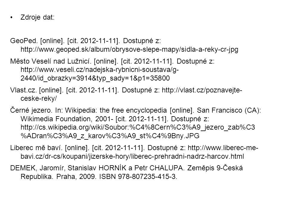 Zdroje dat: GeoPed. [online]. [cit. 2012-11-11]. Dostupné z: http://www.geoped.sk/album/obrysove-slepe-mapy/sidla-a-reky-cr-jpg Město Veselí nad Lužni