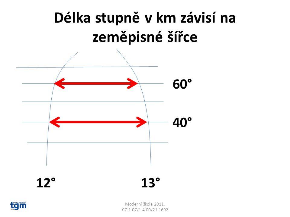 Délka stupně v km závisí na zeměpisné šířce Moderní škola 2011, CZ.1.07/1.4.00/21.1692 40° 60° 12°13°