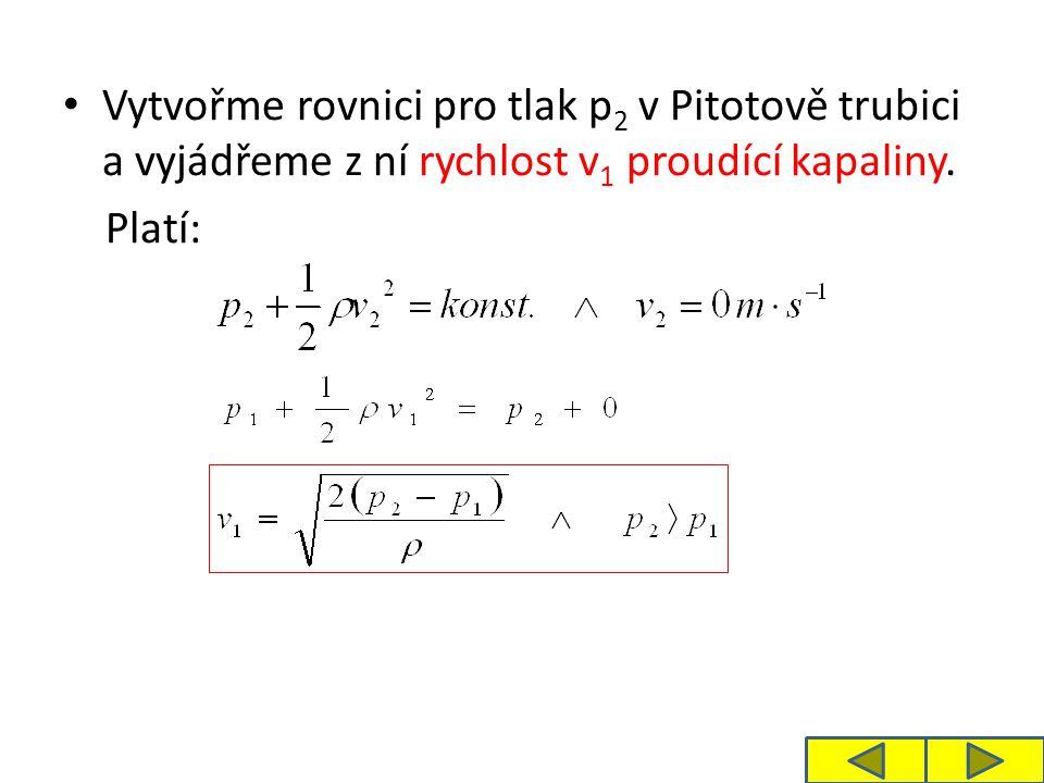 Vytvořme rovnici pro tlak p 2 v Pitotově trubici a vyjádřeme z ní rychlost v 1 proudící kapaliny.