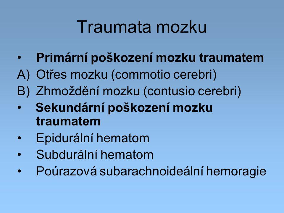 Traumata mozku Primární poškození mozku traumatem A)Otřes mozku (commotio cerebri) B)Zhmoždění mozku (contusio cerebri) Sekundární poškození mozku tra