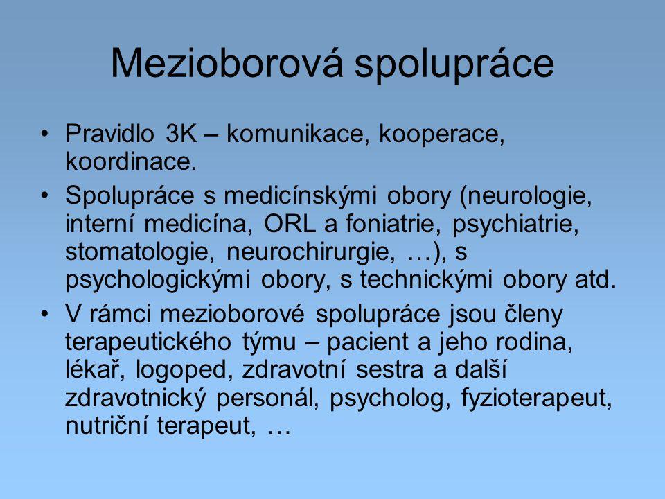 Mezioborová spolupráce Pravidlo 3K – komunikace, kooperace, koordinace. Spolupráce s medicínskými obory (neurologie, interní medicína, ORL a foniatrie