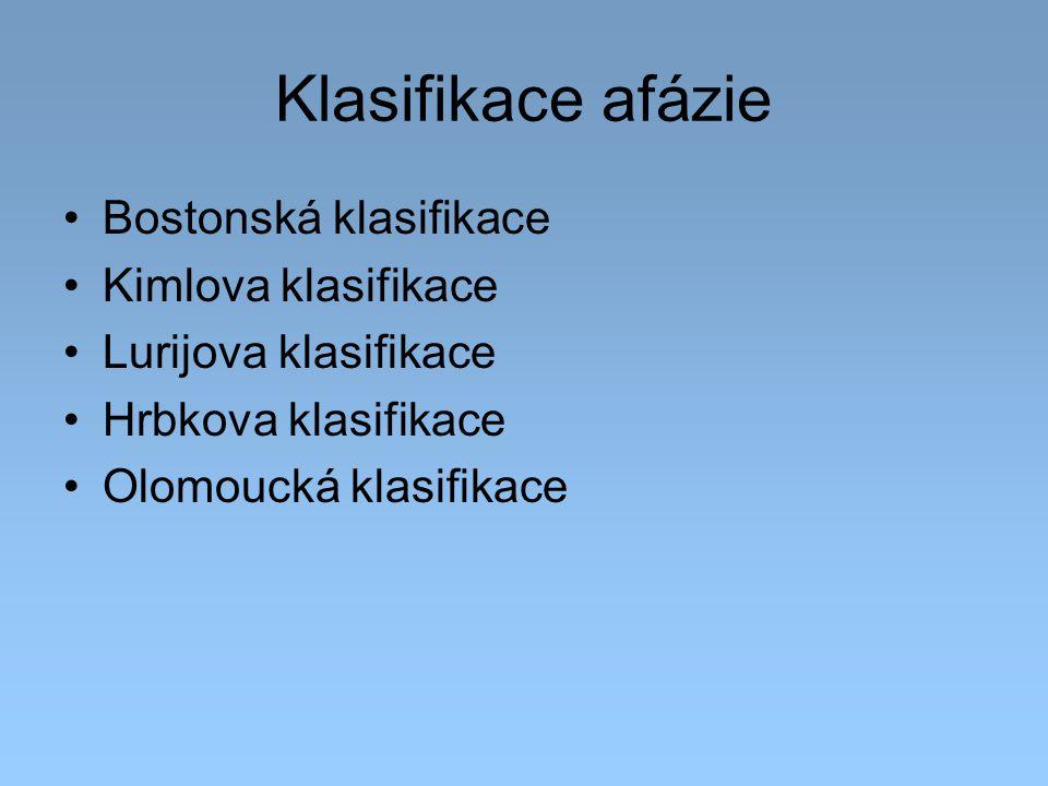 Klasifikace afázie Bostonská klasifikace Kimlova klasifikace Lurijova klasifikace Hrbkova klasifikace Olomoucká klasifikace