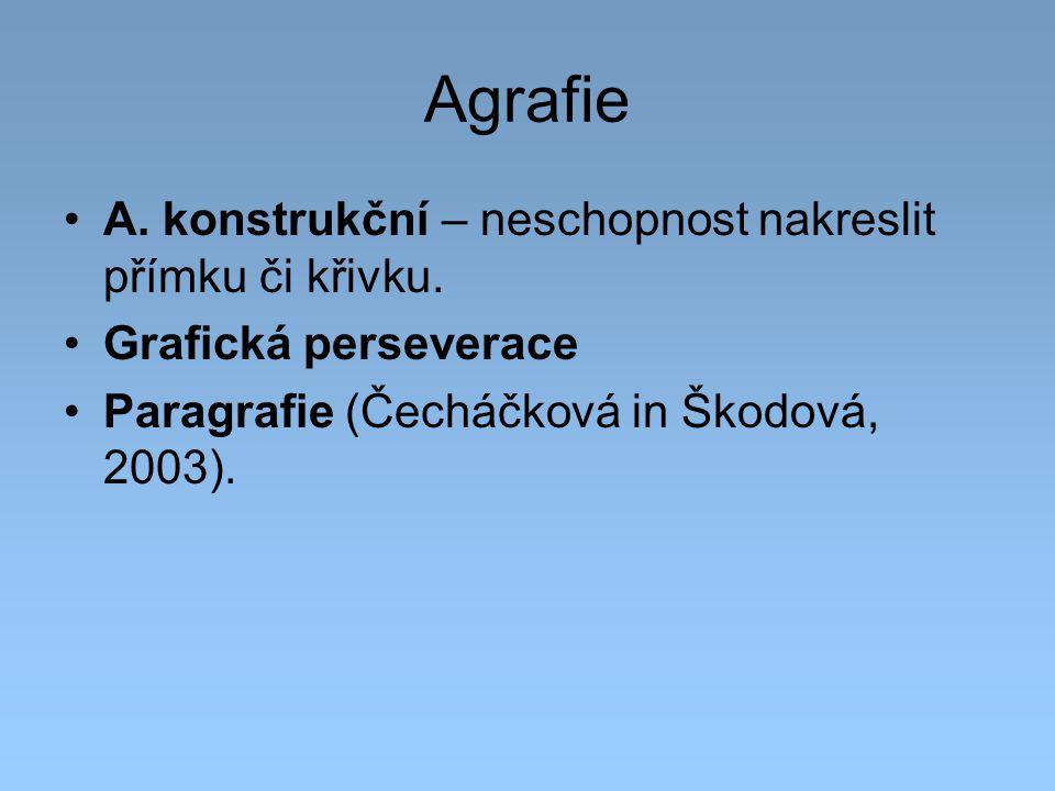 Agrafie A. konstrukční – neschopnost nakreslit přímku či křivku. Grafická perseverace Paragrafie (Čecháčková in Škodová, 2003).