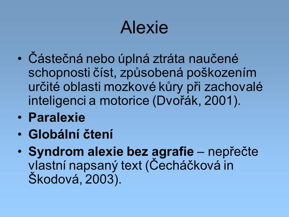 Alexie Částečná nebo úplná ztráta naučené schopnosti číst, způsobená poškozením určité oblasti mozkové kůry při zachovalé inteligenci a motorice (Dvoř