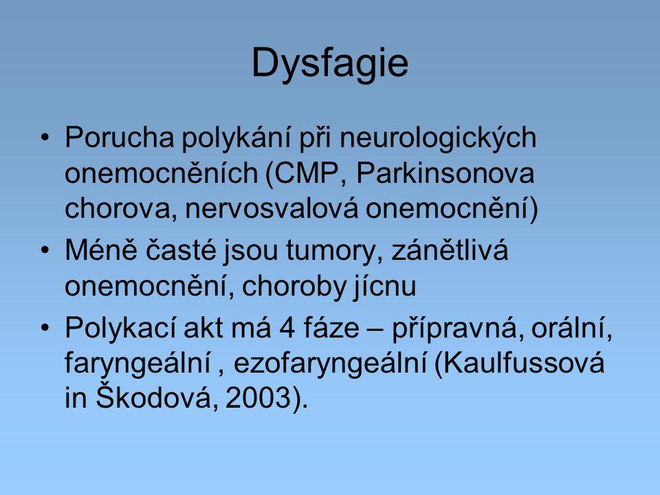 Dysfagie Porucha polykání při neurologických onemocněních (CMP, Parkinsonova chorova, nervosvalová onemocnění) Méně časté jsou tumory, zánětlivá onemo