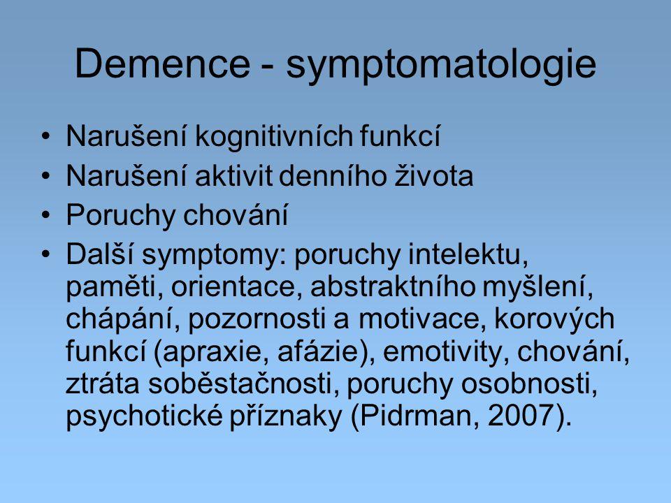 Demence - symptomatologie Narušení kognitivních funkcí Narušení aktivit denního života Poruchy chování Další symptomy: poruchy intelektu, paměti, orie