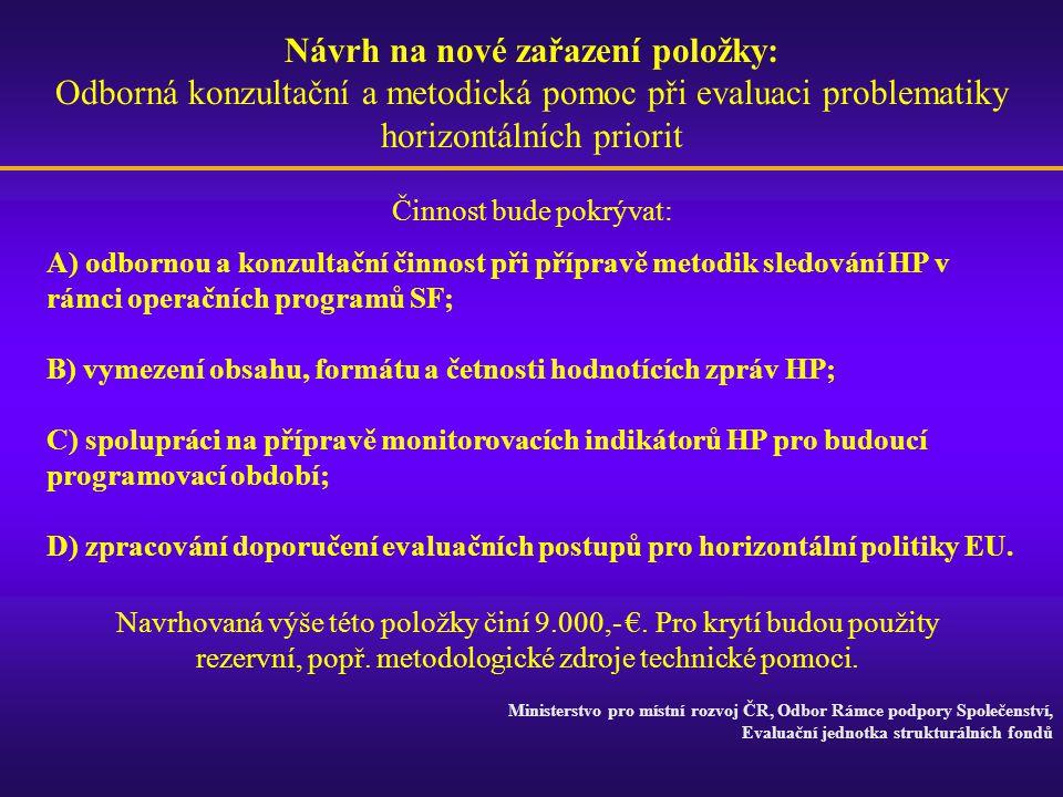 Návrh na nové zařazení položky: Odborná konzultační a metodická pomoc při evaluaci problematiky horizontálních priorit A) odbornou a konzultační činno