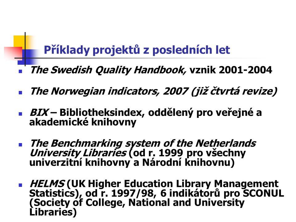 Příklady projektů z posledních let The Swedish Quality Handbook, vznik 2001-2004 The Norwegian indicators, 2007 (již čtvrtá revize) BIX – Bibliotheksindex, oddělený pro veřejné a akademické knihovny The Benchmarking system of the Netherlands University Libraries (od r.