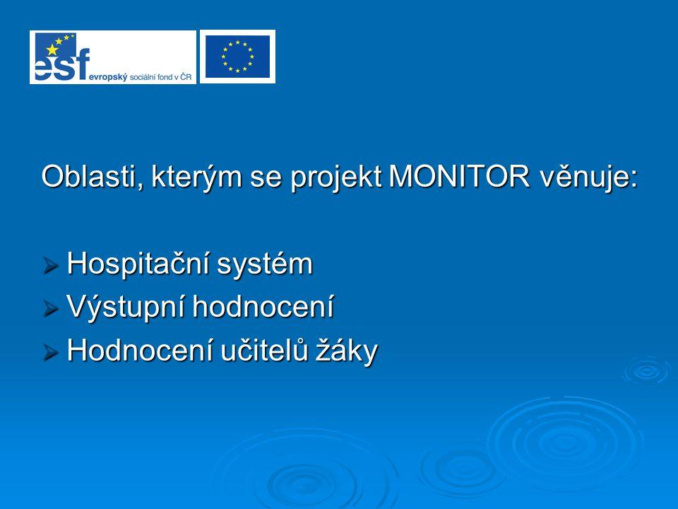 Oblasti, kterým se projekt MONITOR věnuje:  Hospitační systém  Výstupní hodnocení  Hodnocení učitelů žáky