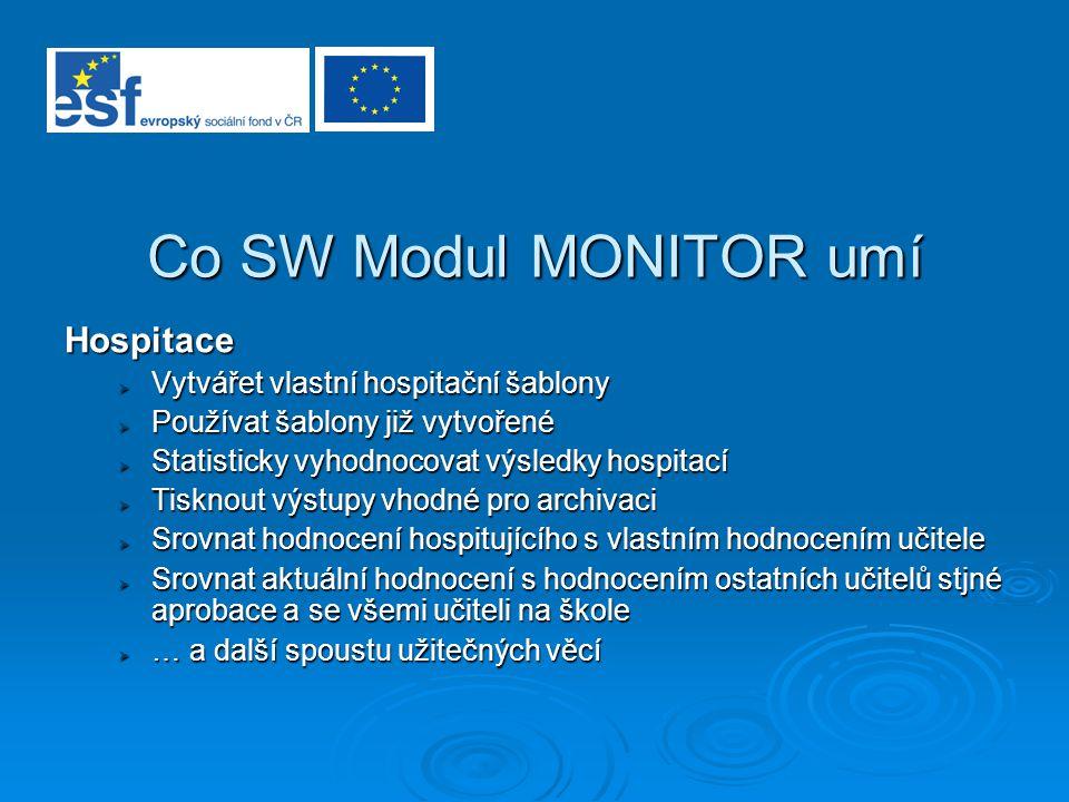 Co SW Modul MONITOR umí Hospitace  Vytvářet vlastní hospitační šablony  Používat šablony již vytvořené  Statisticky vyhodnocovat výsledky hospitací